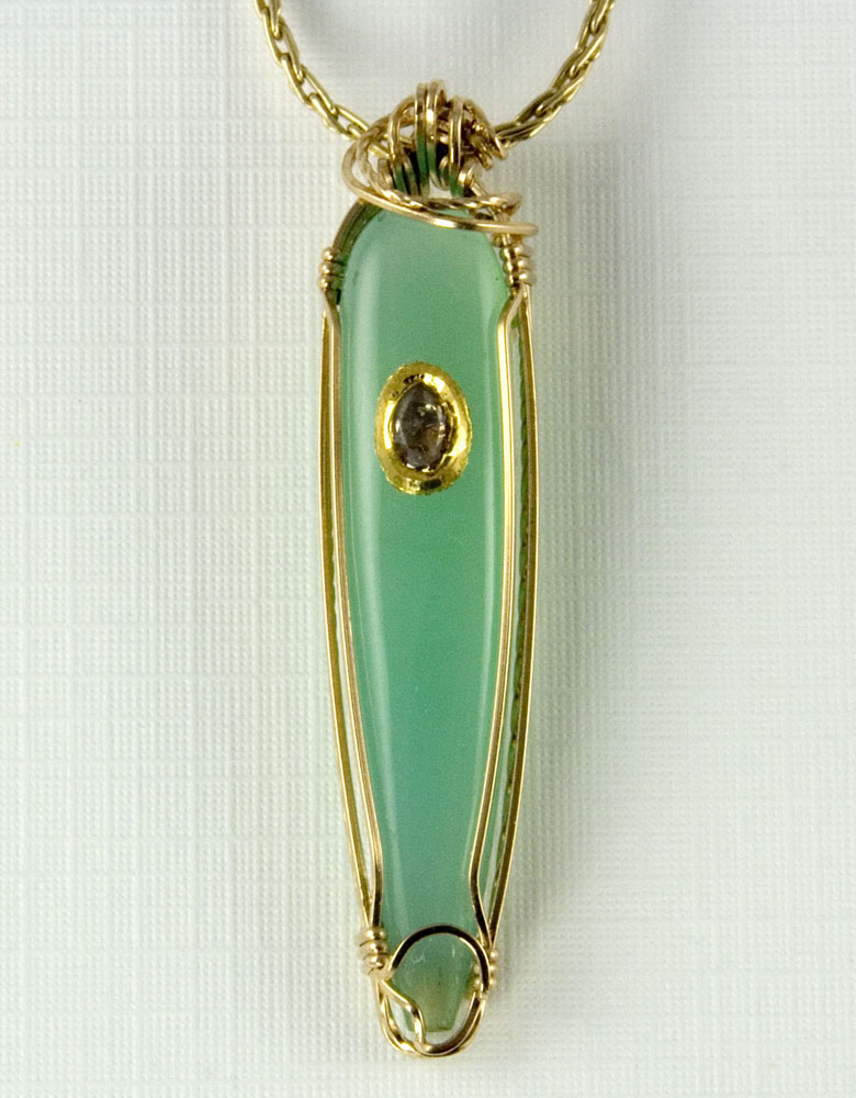 Chrysoprase with Diamond Pendant/Slider