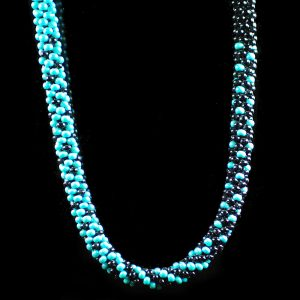 Blue & Black Graduated Kumihimo Necklace