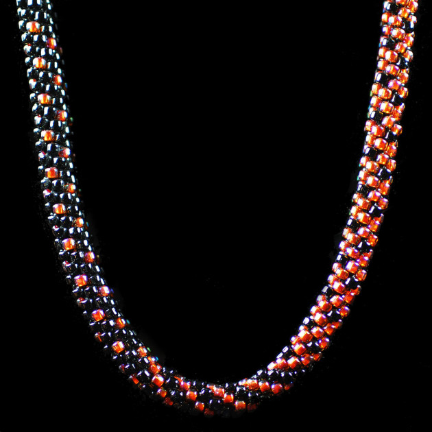 Coral & Black Graduated Kumihimo Necklace