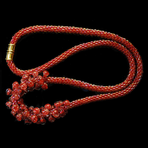 Red Hot Mama Kumihimo Necklace